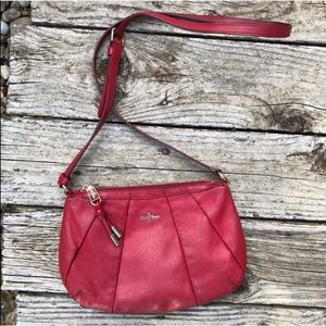 Cole Haan Adele Red Leather Pleated Crossbody Bag